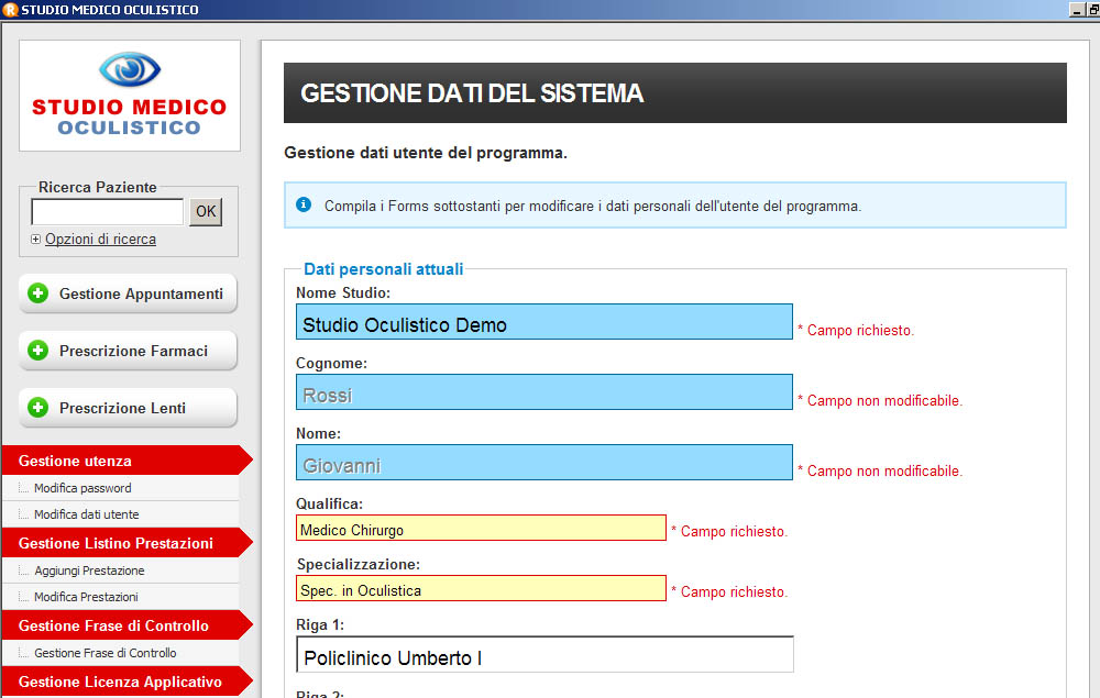 Software Studio Medico Oculistico